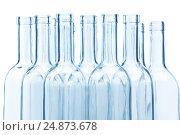 Купить «Clear glass wine bottles' necks on white», фото № 24873678, снято 5 января 2016 г. (c) Сергей Новиков / Фотобанк Лори