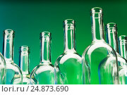 Купить «Picture of seven empty wine bottles' bottlenecks», фото № 24873690, снято 5 января 2016 г. (c) Сергей Новиков / Фотобанк Лори