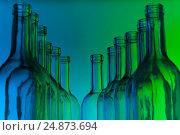 Купить «Dozen crystal bottlenecks of empty wine bottles», фото № 24873694, снято 5 января 2016 г. (c) Сергей Новиков / Фотобанк Лори