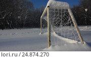 Купить «Snow covered football field with gates», видеоролик № 24874270, снято 16 января 2017 г. (c) Ринат Файзуллин / Фотобанк Лори