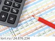 Купить «Таблицы, карандаш и калькулятор. Бизнес-натюрморт», эксклюзивное фото № 24876234, снято 16 января 2017 г. (c) Юрий Морозов / Фотобанк Лори