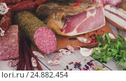 meats on table. Стоковое видео, видеограф Яков Филимонов / Фотобанк Лори