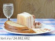 Купить «Соленое сало с чесноком, черным ржаным хлебом и рюмка водки на столе», эксклюзивное фото № 24882682, снято 11 января 2017 г. (c) Елена Коромыслова / Фотобанк Лори