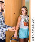 Купить «Young couple separating after quarrel», фото № 24885294, снято 27 марта 2019 г. (c) Яков Филимонов / Фотобанк Лори