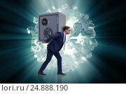 Купить «BUsinessman stealing metal safe from bank», фото № 24888190, снято 27 мая 2019 г. (c) Elnur / Фотобанк Лори
