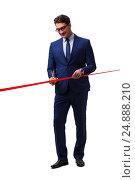 Businessman cutting red ribbon isolated on white. Стоковое фото, фотограф Elnur / Фотобанк Лори