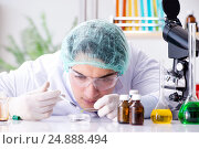 Pharmaceutical industry concept with scientist in the lab, фото № 24888494, снято 28 ноября 2016 г. (c) Elnur / Фотобанк Лори