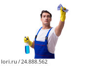 Купить «Man with cleaning agents isolated on white background», фото № 24888562, снято 31 октября 2016 г. (c) Elnur / Фотобанк Лори
