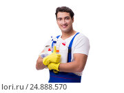 Купить «Man with cleaning agents isolated on white background», фото № 24888570, снято 31 октября 2016 г. (c) Elnur / Фотобанк Лори