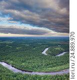 Таежная река, вид сверху, фото № 24889970, снято 8 июля 2011 г. (c) Владимир Мельников / Фотобанк Лори