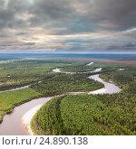 Таежная река, вид сверху, фото № 24890138, снято 1 сентября 2010 г. (c) Владимир Мельников / Фотобанк Лори