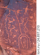 Купить «Petroglyphs at Utah Highway 279 Rock Art Site, Potash-Lower Colorado River Scenic Byway, Grand County, Utah.», фото № 24897210, снято 18 марта 2015 г. (c) age Fotostock / Фотобанк Лори