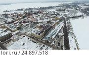 Купить «Панорама города Выборг с крепостью и Финским заливом», видеоролик № 24897518, снято 18 января 2017 г. (c) Кекяляйнен Андрей / Фотобанк Лори