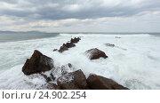 Купить «Atlantic Ocean storm.», видеоролик № 24902254, снято 9 января 2017 г. (c) Юрий Брыкайло / Фотобанк Лори