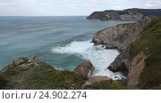 Купить «Summer ocean coastline view (Spain).», видеоролик № 24902274, снято 10 января 2017 г. (c) Юрий Брыкайло / Фотобанк Лори
