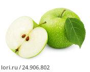 Купить «Green apple with leaf and half isolated on white», фото № 24906802, снято 7 июля 2020 г. (c) Роман Самохин / Фотобанк Лори