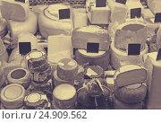 Купить «Market counter with different cheese kinds», фото № 24909562, снято 16 июля 2019 г. (c) Яков Филимонов / Фотобанк Лори