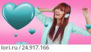 Купить «Composite image of happy hipster woman listening music with headphone», фото № 24917166, снято 13 июля 2020 г. (c) Wavebreak Media / Фотобанк Лори