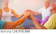 Купить «Concentrated seniors holding hands together in circle», фото № 24918886, снято 26 февраля 2020 г. (c) Wavebreak Media / Фотобанк Лори