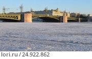 Купить «Городской транспорт на Дворцовом мосту через Неву. Санкт-Петербург», видеоролик № 24922862, снято 21 января 2017 г. (c) Румянцева Наталия / Фотобанк Лори