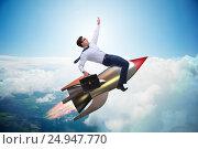 Купить «Businessman flying on rocket in business concept», фото № 24947770, снято 5 июля 2020 г. (c) Elnur / Фотобанк Лори