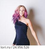 Купить «Colored hairstyle. Portrait of smiling and surprised women with big blue eyes flying hairs. Ombre. Gradient», фото № 24956526, снято 22 сентября 2016 г. (c) Ксения Левашова / Фотобанк Лори