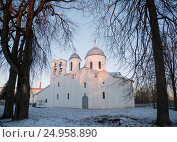 Купить «Dawn at the Cathedral of St. John the Baptist in Pskov», фото № 24958890, снято 5 января 2017 г. (c) Анна Костенко / Фотобанк Лори