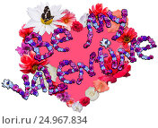 Beautiful heart with legend made of different flowers on white background. Стоковое фото, фотограф Екатерина Голубкова / Фотобанк Лори