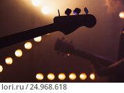 Купить «Electric bass and solo guitar silhouettes,», фото № 24968618, снято 11 декабря 2016 г. (c) EugeneSergeev / Фотобанк Лори