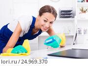 Купить «woman cleaning in company office», фото № 24969370, снято 27 мая 2020 г. (c) Яков Филимонов / Фотобанк Лори