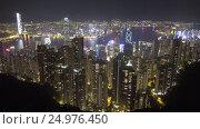 Hong Kong city at night, view from Victoria peak (2016 год). Стоковое видео, видеограф Михаил Коханчиков / Фотобанк Лори