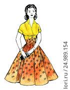 Женщина в красно-желтом ретро-платье. Стоковая иллюстрация, иллюстратор Ольга К. / Фотобанк Лори