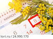 Купить «8 марта - поздравительная открытка с мимозой», фото № 24990170, снято 10 марта 2016 г. (c) Зезелина Марина / Фотобанк Лори
