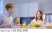 Купить «Families with a child in kitchen», видеоролик № 24992090, снято 21 января 2020 г. (c) Raev Denis / Фотобанк Лори