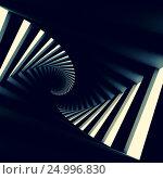 Купить «Abstract black twisted spiral corridor», иллюстрация № 24996830 (c) EugeneSergeev / Фотобанк Лори