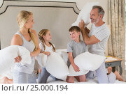 Купить «Cute family having a pillow fight in bedroom», фото № 25000194, снято 8 ноября 2016 г. (c) Wavebreak Media / Фотобанк Лори