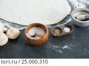 Купить «Pizza dough with various ingredients», фото № 25000310, снято 30 сентября 2016 г. (c) Wavebreak Media / Фотобанк Лори