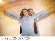 Купить «Composite image of happy couple standing with arms outstretched», фото № 25027126, снято 19 января 2019 г. (c) Wavebreak Media / Фотобанк Лори