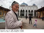 Купить «Мусульманин идет совершать намаз в мечеть и мавзолей Шейха Муслихиддина в центре города Худжанд Согдийской области, Республики Таджикистан», фото № 25029130, снято 22 марта 2015 г. (c) Николай Винокуров / Фотобанк Лори