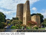 Купить «Maiden Tower in Old city, Icheri Sheher. Baku», фото № 25035990, снято 10 сентября 2016 г. (c) Elena Odareeva / Фотобанк Лори