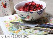 Купить «Винегрет в салатнике на салфетке», эксклюзивное фото № 25037262, снято 30 января 2017 г. (c) Яна Королёва / Фотобанк Лори