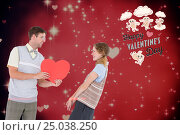 Купить «Couple with red heart against digitally generated background», фото № 25038250, снято 28 марта 2020 г. (c) Wavebreak Media / Фотобанк Лори