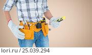 Mid-section of handy man with tool belt. Стоковое фото, агентство Wavebreak Media / Фотобанк Лори