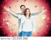 Купить «Portrait of couple standing with arms outstretched», фото № 25039366, снято 22 марта 2019 г. (c) Wavebreak Media / Фотобанк Лори
