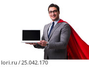 Купить «Super hero businessman isolated on white», фото № 25042170, снято 21 декабря 2016 г. (c) Elnur / Фотобанк Лори