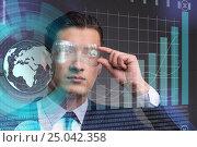 Купить «Businessman in future trading concept», фото № 25042358, снято 22 сентября 2019 г. (c) Elnur / Фотобанк Лори