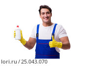 Купить «Man with cleaning agents isolated on white background», фото № 25043070, снято 31 октября 2016 г. (c) Elnur / Фотобанк Лори