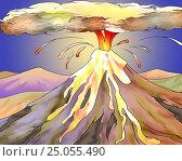 Купить «Volcano Eruption with Hot Lava Illustration», иллюстрация № 25055490 (c) Sergii Zarev / Фотобанк Лори