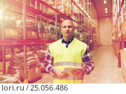 Купить «manual worker with tablet pc at warehouse», фото № 25056486, снято 9 декабря 2015 г. (c) Syda Productions / Фотобанк Лори