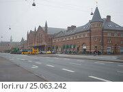 Купить «Вид на здание железнодорожного вокзала туманным ноябрьским днем. Копенгаген, Дания», фото № 25063242, снято 1 ноября 2014 г. (c) Виктор Карасев / Фотобанк Лори